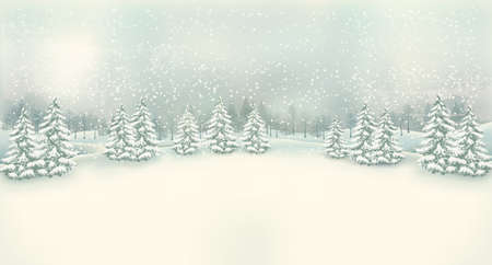 Illustration pour Vintage Christmas winter landscape background. Vector. - image libre de droit