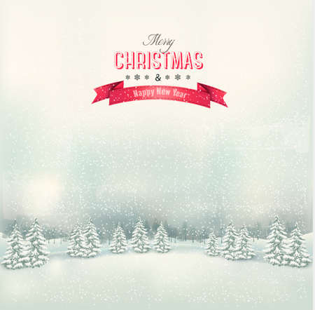 Illustration pour Vintage Christmas winter landscape background. Vector. - image libre de droit