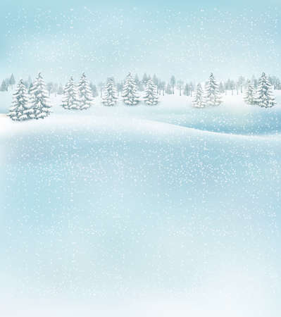 Illustration pour Winter christmas landscape background. Vector. - image libre de droit