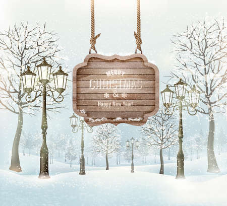Ilustración de Winter landscape with lampposts and a wooden ornate Merry christmas sign. Vector. - Imagen libre de derechos