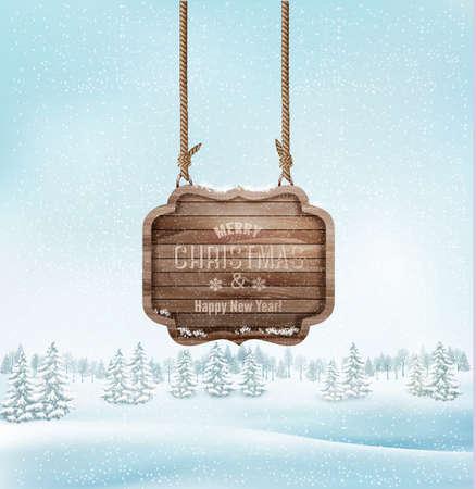 Illustration pour Winter landscape with a wooden ornate Merry christmas sign. Vector. - image libre de droit