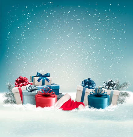 Illustration for Winter background with presents. Vector. - Royalty Free Image