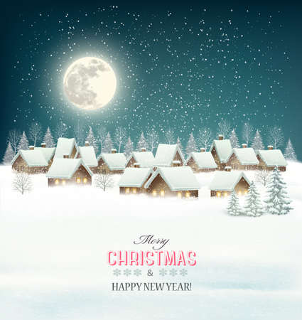 Illustration for Winter village night background. Vector. - Royalty Free Image