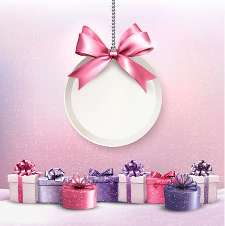 Ilustración de Merry Christmas card with a ribbon and gift boxes. - Imagen libre de derechos