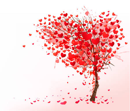 Illustration pour Valentine background with heart shaped tree. Vector. - image libre de droit