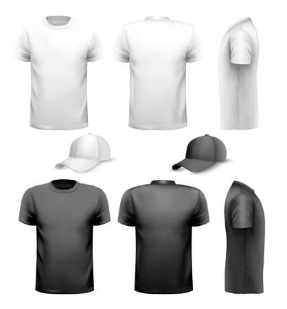 Ilustración de Black and white men t-shirt and cup. Design template. Vector. - Imagen libre de derechos