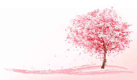 Illustration pour Beautiful background with a pink blooming sakura tree. Vector. - image libre de droit