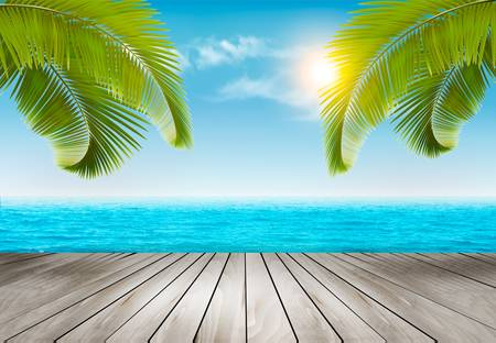Ilustración de Vacation background. Beach with palm trees and blue sea. Vector. - Imagen libre de derechos