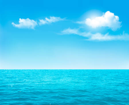 Ilustración de Nature background - blue ocean and blue cloudy sky. Vector. - Imagen libre de derechos