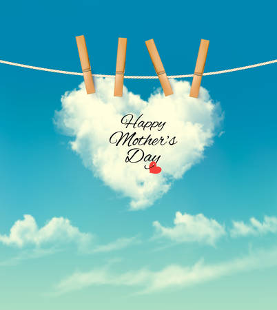 Illustration pour Holiday mother day background with cloud on rope. Vector - image libre de droit