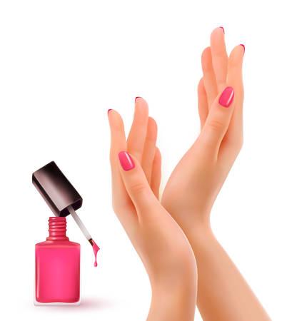 Illustration pour Hands with pink polished nails. Nail polish bottle. Vector. - image libre de droit