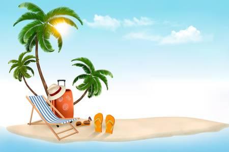 Ilustración de Tropical island with palms, a beach chair and a suitcase. Vacation vector background. Vector. - Imagen libre de derechos