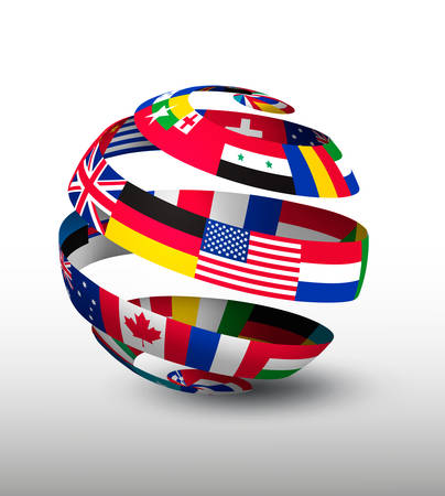 Ilustración de Globe made of a strip of flags. Vector. - Imagen libre de derechos