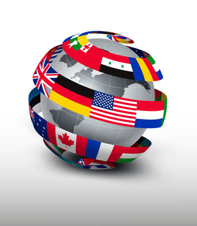 Illustration pour Globe made of a strip of flags. Vector. - image libre de droit