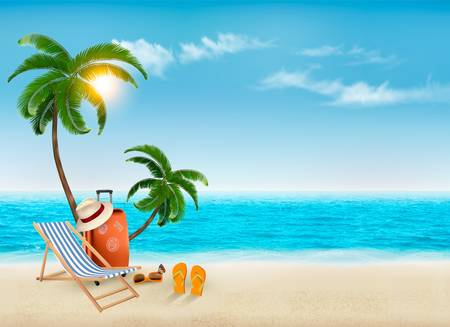 Ilustración de Tropical seaside with palms, a beach chair and a suitcase. Vacation vector background. Vector. - Imagen libre de derechos