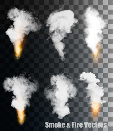 Illustration for Smoke and fire vectors on transparent background. - Royalty Free Image