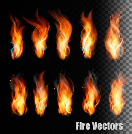 Illustration for Fire vectors on transparent background. - Royalty Free Image