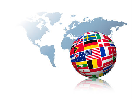 Ilustración de Globe made out of flags on a world map background. Vector. - Imagen libre de derechos