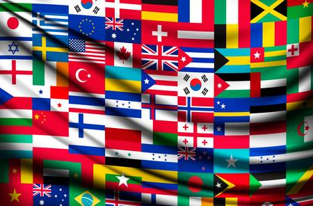 Illustration pour Big flag background made of world country flags. Vector. - image libre de droit