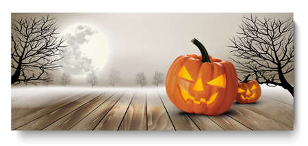 Illustrazione per Holiday Halloween Banner with Pumpkins and Moon. Vector - Immagini Royalty Free