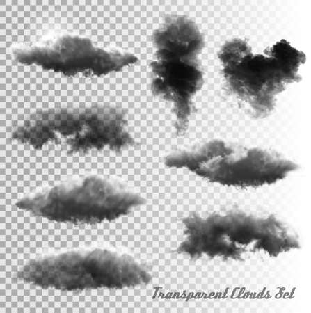 Illustration pour Set of transparent clouds and smoke. Vector. - image libre de droit