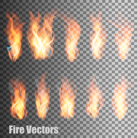 Illustration for Set of transparent flame vectors. - Royalty Free Image