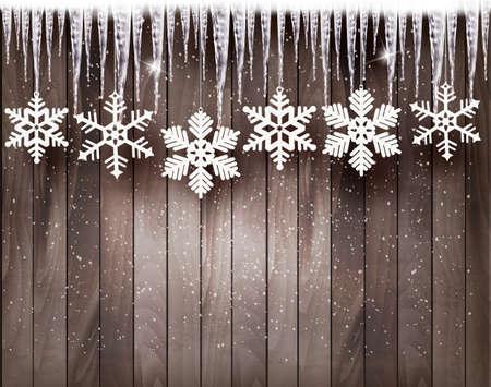 Ilustración de Christmas background with snowflakes and icicles in front of a wooden wall. - Imagen libre de derechos