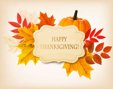 Ilustración de Happy Thanksgiving background with colorful autumn leaves and a pumpkin. Vector. - Imagen libre de derechos