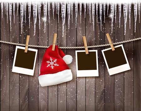 Illustration pour Christmas background with photos and a santa hat. Vector. - image libre de droit