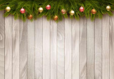 Illustration pour Christmas decoration on old wooden background. Vector - image libre de droit
