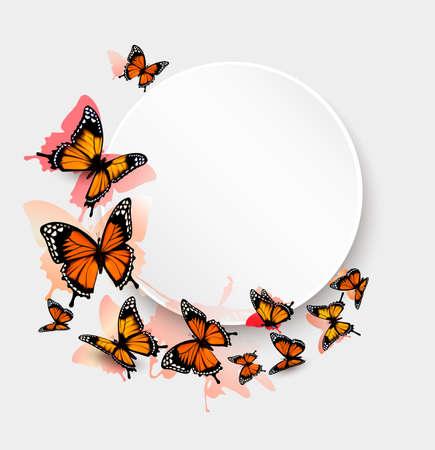 Ilustración de Beautiful butterfly background and gift card. - Imagen libre de derechos