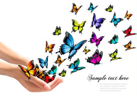 Ilustración de Hands releasing colorful butterflies. Vector illustration - Imagen libre de derechos