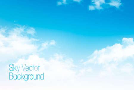Illustration pour Vector blue sky panorama with transparent clouds. Vector background. - image libre de droit