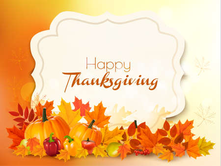 Illustrazione per Happy Thanksgiving background with colorful leaves. Vector. - Immagini Royalty Free