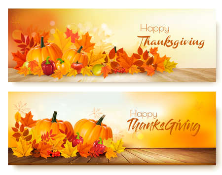 Ilustración de Happy Thanksgiving banners with autumn vegetables and colorful leaves. - Imagen libre de derechos