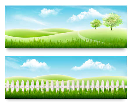 Illustration pour Two nature meadow banners with grass and blue sky. Vector illustration. - image libre de droit