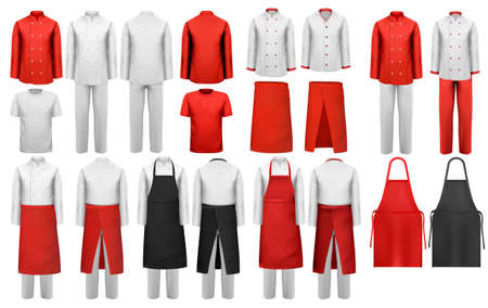 Illustrazione per Big collection of culinary clothing, white and red suits and aprons. Vector. - Immagini Royalty Free