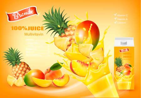 Ilustración de Mulitivitamin juice with fresh fruits and splashing liquid. Design template. Vector. - Imagen libre de derechos