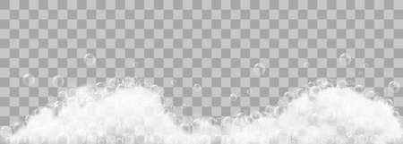Illustration for Soap foam and bubbles on transparent background. Vector illustration - Royalty Free Image