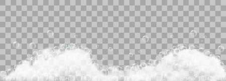 Ilustración de Soap foam and bubbles on transparent background. Vector illustration - Imagen libre de derechos