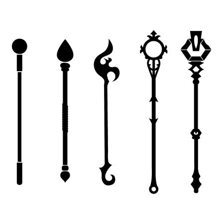 Illustrazione per Set of Staff Icons isolated on white background. Magic Weapon. - Immagini Royalty Free