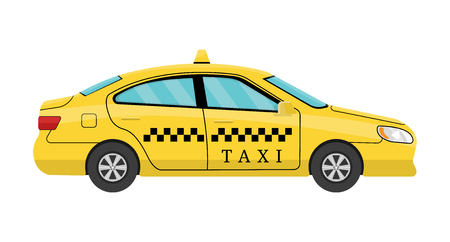 Illustration pour Car Taxi in Flat Style. View from Side. Taxi Yellow Car Cab isolated on white background. For Taxi Service App, Transport Company Ad, Infographics. Vector illustration for Your Design - image libre de droit