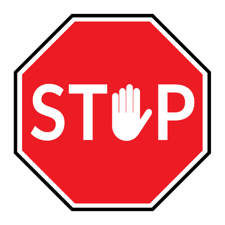 Illustration pour STOP sign. Traffic stop sign isolated on white background. Red octagonal stop sign for prohibited activities. Hand sign in place letter O. Vector illustration - you can simply change color and size - image libre de droit