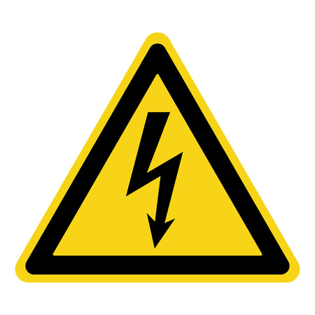 Illustration pour High Voltage Sign. Danger symbol. Black arrow isolated in yellow triangle on white background. Warning icon. Vector illustration - image libre de droit