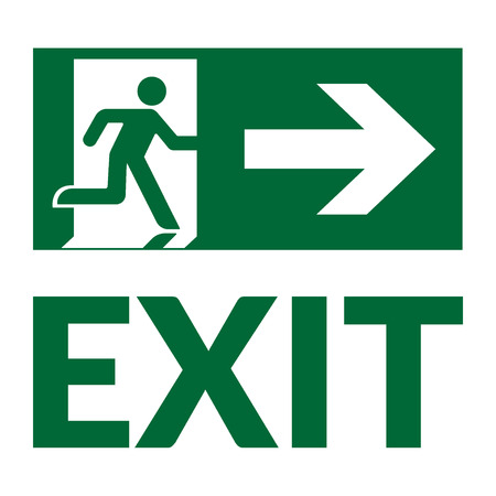 Illustration pour Exit sign with text. Emergency fire exit door and exit door. Green icon on white background. Safe condition symbol. Label with human figure and arrow. Vector illustration - image libre de droit