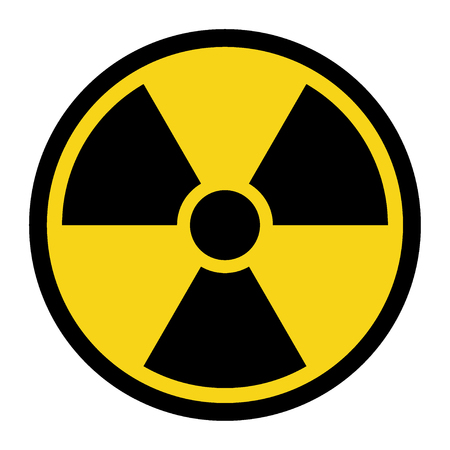 Ilustración de Radiation Hazard Sign. Symbol of radioactive threat alert. Black hazard emblem isolated in yellow circle on white background. Danger label. Warning icon. Stock Vector Illustration - Imagen libre de derechos