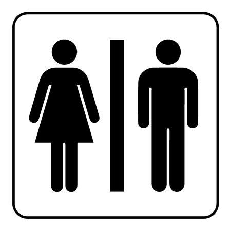 Ilustración de Restroom sign. Male and female toilet icon denoting restroom facilities for both men and women. Lady and a man WC emblem. Lavatory symbol on white background. Stock Vector Illustration - Imagen libre de derechos
