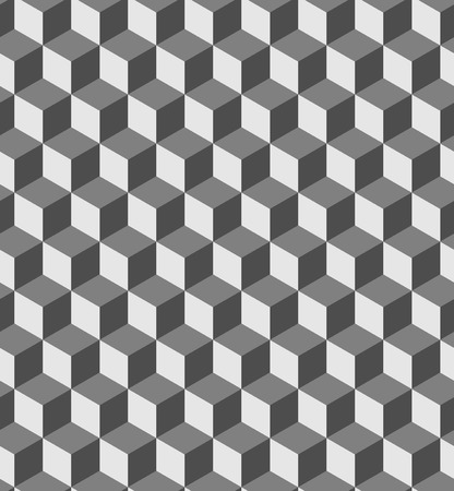 Illustration pour Seamless geometric volume pattern. Fashion graphics background design. Optical illusion 3D cube shapes. Modern stylish texture for prints, textiles, wrapping, wallpaper, website, blogs etc. VECTOR - image libre de droit