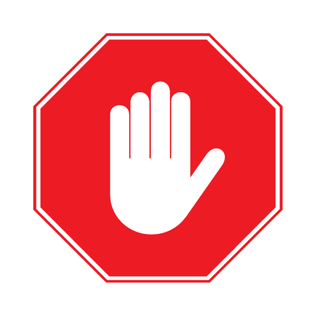 Photo for STOP sign. No entry. Hand sign isolated on white background. Red octagonal stop. Hand sign for prohibited activities. Stock illustration - you can simply change color and size - Royalty Free Image