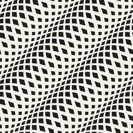 Illustration pour Wavy crossed stripes seamless pattern 3D. Abstract fashion texture. Geometric monochrome template. Graphic style for wallpaper, wrapping, fabric, background, apparel, prints, website etc. Vector - image libre de droit